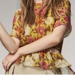 Silk Floral Short Sleeve Blouse